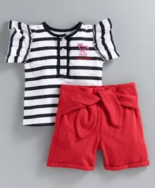 JusCubs Cap Sleeves Striped Top With Shorts - Black