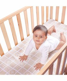 Kaarpas Premium Organic Cotton Muslin Fitted Large Cot Crib Sheet - Golden