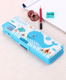 Magnetic Pencil Box Whale Print - Blue