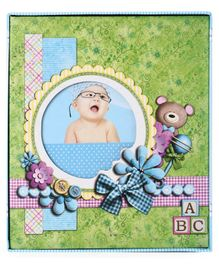 Teddy Print Photo Album - Green