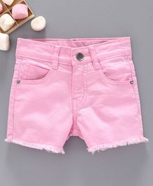 Ed-a-Mamma Solid Colour Shorts With Frayed Hem - Candy Pink