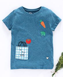 Ed-a-Mamma Half Sleeves Vegetable & Fruits Embroidery Detailing Tee - Blue Melange