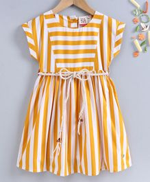 Ed-a-Mamma Short Sleeves Striped Dress With Yoke & Braided Belt - Mustard