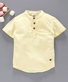 Ed-a-Mamma Half Sleeves Oxford Shirt With Welt Pockets - Yellow