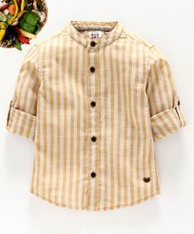 Ed-a-Mamma Striped Linen Shirt with Roll-Up Sleeves - Mustard