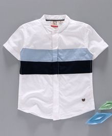 Ed-a-Mamma Half Sleeves Colour Blocked Shirt - White