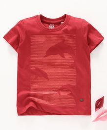 Ed-a-Mamma Playful Half Sleeved Knit Tee With Dolphin Print - Red
