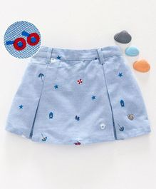 Ed-a-Mamma Beach-Inspired Printed Chambray Skorts With Inverted Pleats - Blue