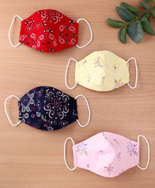 Enfance Flower Print Reusable & Washable Anti Pollution Face Protection Pack Of 4 Masks  - Multicolour