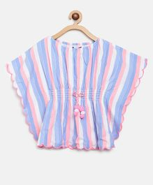 Natilene Half Sleeves Striped Top - Multicolor