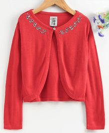 Vitamins Full Sleeves Shrug With Studded Neckline - Fiery Red