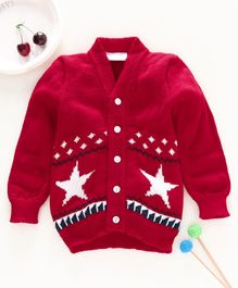 Little Angels Full Sleeves Sweater Star Design - Red