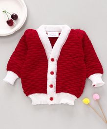 Little Angels Full Sleeves Solid Colour Sweater - Red