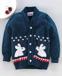 Little Angels  Full Sleeves Sweater Bunny Design - Blue