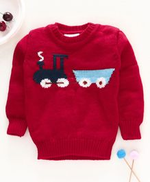 Little Angels Full Sleeves Sweater Train Design - Red