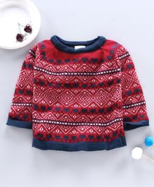 Little Angels Full Sleeves Sweater Heart Design - Red