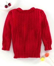 Little Angels Full Sleeves Solid Sweater - Red