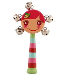 Wooden Rattle Stick With Metallic Bells - Multicolour