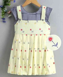 Twetoons Short Sleeves Dungaree Style Frock Floral Print - Yellow