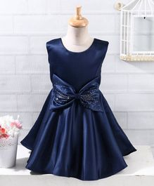 Twetoons Sleeveless Party Wear Frock with Studded Bow - Navy Blue