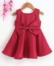 Twetoons Sleeveless Party Wear Frock with Studded Bow - Maroon