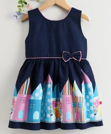 Twetoons Sleeveless Frock House Print -  Navy & Light Blue
