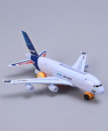 Battery Operated Toy Plane with Lights and Music - White Blue