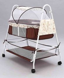Baby Cradle With Mosquito Net - Brown