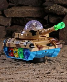 Battery Operated Military Tank with Lights and Music - Beige