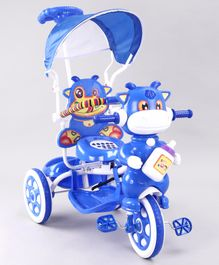 Animal Faced Musical Tricycle with Parent Push Handle - Blue