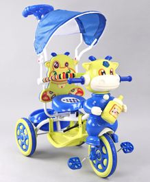 Animal Faced Musical Tricycle with Parent Push Handle - Yellow