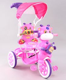 Animal Faced Musical Tricycle with Parent Push Handle - Pink