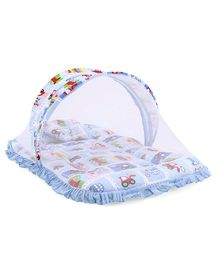 Mee Mee Mattress Set with Mosquito Net and Pillow Vehicle Print - Blue