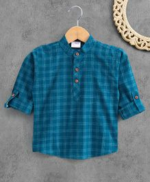 Ridokidz Roll Up Full Sleeves Checkered Kurta - Blue