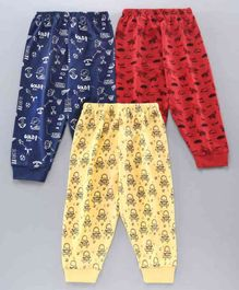 Cucumber Full Length Lounge Pants Multi Print Pack of 3 - Red Navy Yellow