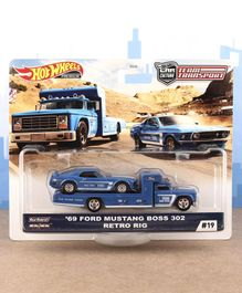 Hot Wheels Die Cast Free Wheel '69 Ford Mustang With Transport Truck - Blue