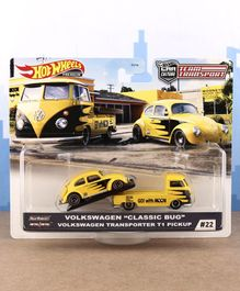 Hot Wheels Die Cast Free Wheel Volkswagon Classic Bug with Transport Truck - yellow