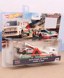 Hot Wheels Die Cast Free Wheel 2016 Ford GT Race Car with Sakura Sprinter Transport Truck - White Green