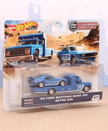 Hot Wheels Die Cast Free Wheel 69 Ford Mustang Boss 302 Retro Rig Race Car With Sakura Sprinter Transport Truck - Blue