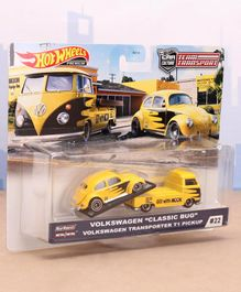 Hot Wheels Die Cast Free Wheel Volkswagon Classic Bug Car with Transport Truck - Yellow