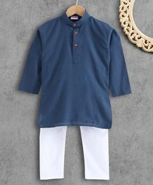 Ridokidz Full Sleeve Solid Color Kurta With Pyjama  - Blue