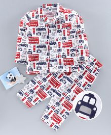 Teddy Full Sleeves Night Suit Vehicle Print - White