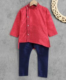 Ridokidz Full Sleeves Paisely Design Kurta With Pajama - Red