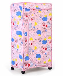 New Natraj Folding Wardrobe With Wheels  Bird Print - Pink