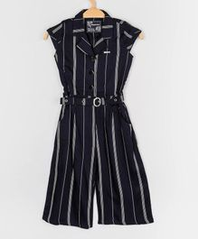 Peppermint Cap Sleeves Striped Jumpsuit - Navy Blue