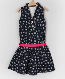 Peppermint Sleeveless Flower Print Jumpsuit - Navy Blue