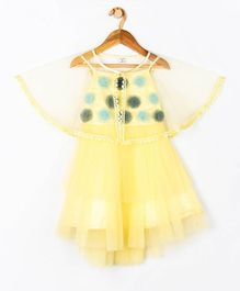 Peppermint Sleeveless Flower Applique Dress With Cape - Yellow