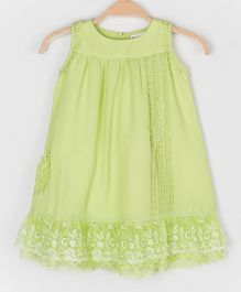 Peppermint Sleeveless Rose Lace Detailing Dress - Light Green
