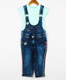 Peppermint Short Sleeves Solid Color Top With Denim Dungaree Set - Blue