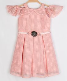 Peppermint Short Sleeves Cold Shoulder Flower Embellished Flared Dress - Peach